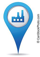 kék, elhelyezés, gyár, ikon
