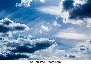 kék, elhomályosul, ég, háttér