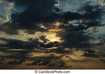 kék, elhomályosul, ég, sunset.