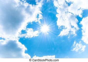 kék, elhomályosul, nap, ég, fehér, csillogó