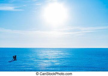 kék, elhomályosul, tél, emberek, nap, tiszta égbolt, tó, jég, vagy, day., fényes, napos, érkező, folyó, keresztül, táj