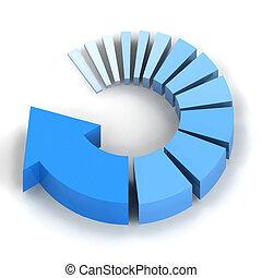 kék, eljárás, nyíl