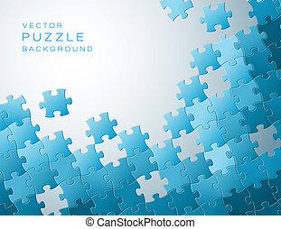kék, elkészített, fejtörő munkadarab, vektor, háttér
