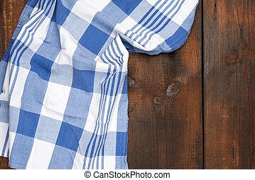 kék, elkészített, textil, deszkák, törülköző, fából való, felszín, barna, konyha