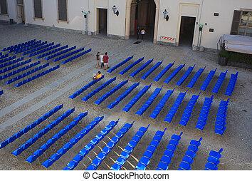 kék, elnökké választ, külső, üres, mozi