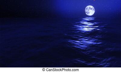 kék, elsötétít, hold, meteor, lenget, óceán, (1030)