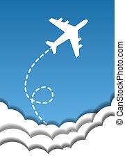 kék, elvág, elhomályosul, repülés, ég, dolgozat, háttér, origami, repülőgép, style., ki