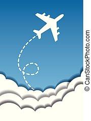 kék, elvág, elhomályosul, repülés, ég, dolgozat, vektor, háttér, origami, repülőgép, style., ki