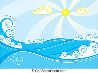 kék, elvont, ábra, vektor, tenger, fehér, waves.