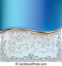 kék, elvont, díszítés, háttér, virágos, repedt, fehér