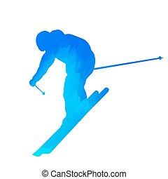 kék, elvont, downhill síelő