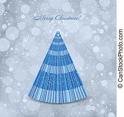 kék, elvont, fa., vektor, háttér, karácsony