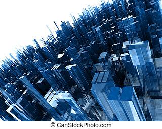 kék, elvont, render, elszigetelt, eltöm, magas, háttér, fehér, műanyag, minőség, 3