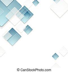 kék, elvont, tech, tervezés, geometriai, blokkok