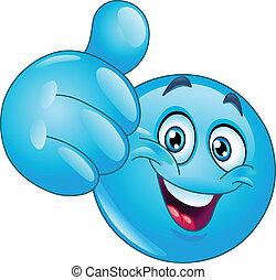 kék, emoticon, lapozgat feláll