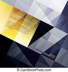 kék, eps10, elvont, sárga, háttér., vektor, gamut., háromszögek