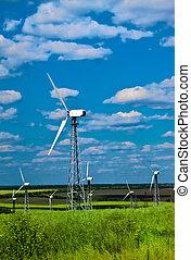kék, erő, -, turbines, ellen, állomás, zöld fű, felteker ég