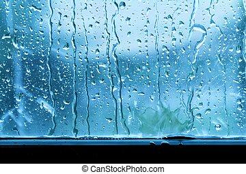 kék, esőcsepp, ablak, háttér, pohár