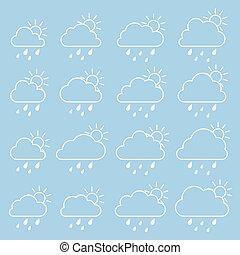 kék, esőcseppek, felhő, nap, háttér