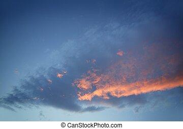 kék, este, természet, vibráló, ég, drámai, napnyugta, befest, piros