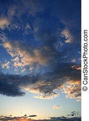 kék, este, vibráló, ég, befest, drámai, napnyugta, piros