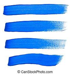 kék, evez, vektor, ecset, tinta