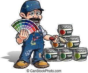 kék, ezermester, arcszín, -, egyenruha, feltörés, szobafestő