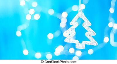 kék, fából való, felett, dekoráció, háttér, függő, karácsonyi üdvözlőlap