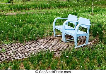 kék, fából való, pázsit szék