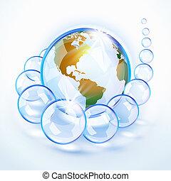 kék, földdel feltölt, amerika, bubbled