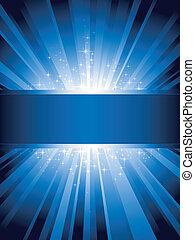 kék, függőleges, kitörés, fény, csillaggal díszít, copy-space