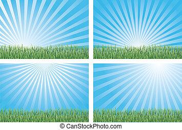 kék, fű, zöld, ég