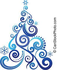 kék, fa, karácsony