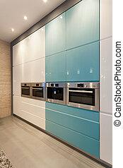 kék, fehér, modern, konyha