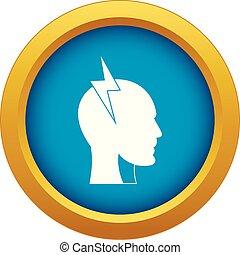 kék, fej, belső, elszigetelt, villámlás, vektor, csavar, ikon