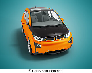 kék, fekete, modern, render, elektromos, narancs, autó, elszigetelt, háttér, beáradások, árnyék, 3