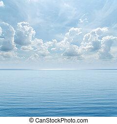 kék, felett, ég, azt, felhős, tenger