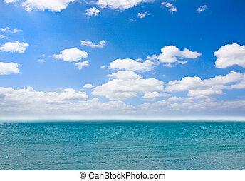 kék, felett, ég, tenger, felhős