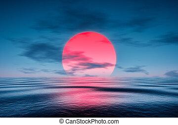 kék, felett, napnyugta, vörös- tenger