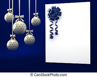 kék, felett, szalag, köszönés kártya