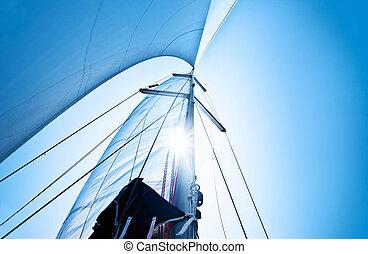 kék, felett, vitorlázik, ég