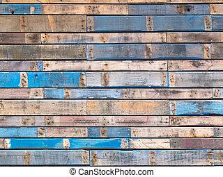 kék, festett, mellékvágány, erdő, külső, grungy, deszkák