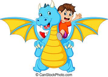 kék, fiú, elbocsát, nagy, azt, sárkány, létrehoz, konzerv, játék