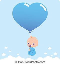 kék, fiú, szív alakzat, ábra, vektor, balloon., csecsemő