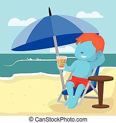 kék, fiú, tengerpart, bágyasztó