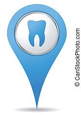 kék, fogász, elhelyezés, ikon