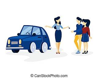 kék, fogadószoba, autó, párosít, fiatal, vásárlás
