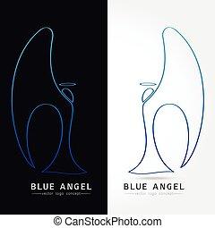 kék, fogalom, angyal, -, ábra, vektor, jel