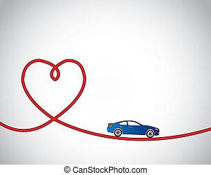 kék, fogalom, szeret, autó, utazás, piros