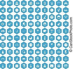 kék, furcsa, 100, állhatatos, ikonok